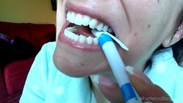 I Destroy a Plastic Pen With My Shredder Bright Teeth, Biting, Crushing