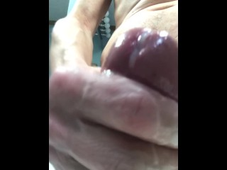 One Big Cock and One Big Slow Oozing Continuous Cumshot