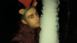 Santa´s helper gives you gift - from soft to cum outdoor close up jerking