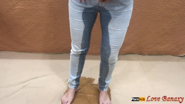 Piss in Jeans and Stuffing Wet Panties Inside Pussy, Masturbating
