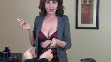About Your New No Smoking Policy - Mrs Mischief milf smoking bondage pov