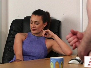 Crazy girl fight videos office femdom instructs sub to jerk till cum, purecfnm voyeur office cfnm joi femdom