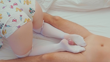 Wake-Up FootJob Cum on White Stockings | Amateur Redhead Ginger PAWG Teen