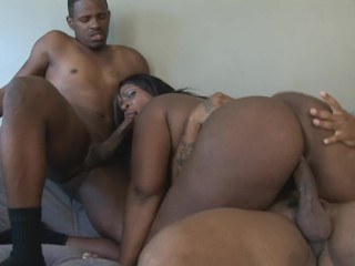 Huge Ebony Slut Simply Destroyed in Gangbang with Two Big Black Cocks