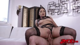Rough anal and extreme deepthroat with gorgeous brunette