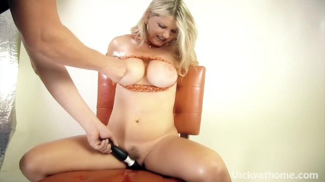 Busty Blonde MILF Vicky Vette Tied up and Orgasms!