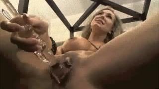 Brandi Love plays with glass Dildo on cam
