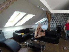 HUNT4K. Young chick rides guy's dick next to her submissive cuckold