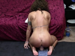 I ride a dildo facing you before I turn around and fuck it until I cum