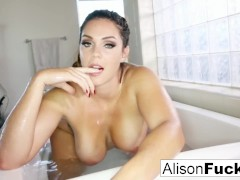 Buxom Alison Tyler takes a bath and rubs herself down