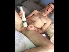 Ftm Frankie plays with a hitachi magic wand vibrator