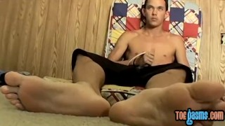 And skinny same his at dude solo cock time the feet rubs cock twink