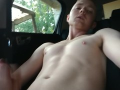 Teen jerking off in my car at home in public view