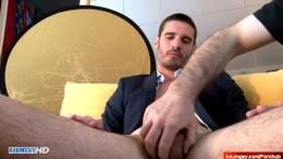 Real straight hetero salesman serviced his big cock in spite of him