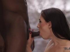 BLACK4K. Slender white manager asks black customer for hot sex