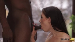 BLACK4K. Slender white manager asks black customer for hot sex