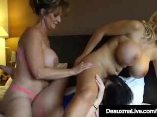 Texas Cougar Deauxma Scissor Fucks & Sucks 2 Euro Milfs!