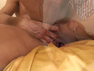 couple of guy and blonde hot shemale make love on sofa