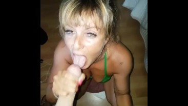 Hot bikini babe blow dry boyfriend and receives a big cumshot on her face