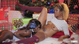 Ebony lesbians lick each other's pussies and asses for the holidays