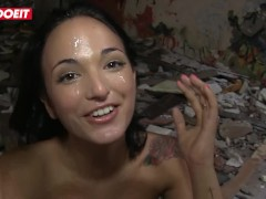 Claudia Bavel Gets Hardcore Facialized in An Abandoned Building #LETSDOEIT