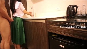 Pinay Creampie - Pinay 18yo Student Fucking In The Kitchen