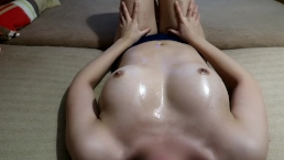 I Massage Myself and Used Him To Cum On My Oiled Belly And Tits Female POV