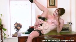 Brunette Brook Logan fingers fucks pussy on desk in nylons designer heels