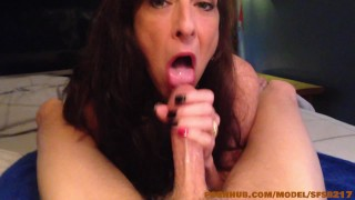 Sexy dark haired amateur milf enjoys a thick cock (Debut Video)