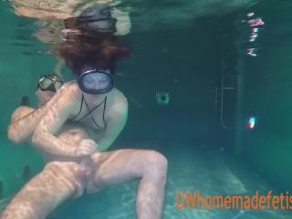 Couple having fun underwater.