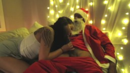 "Santa ""CUMS"" early in a cute asian"