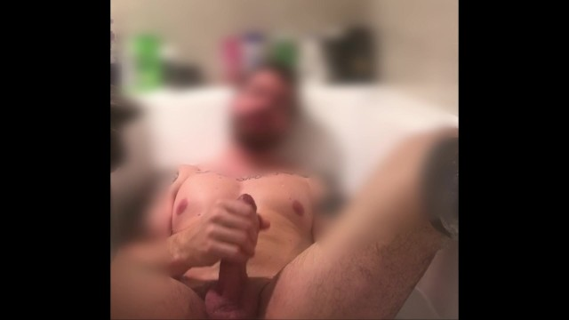 Jerking off in the bath while playing with my ass to cum on myself
