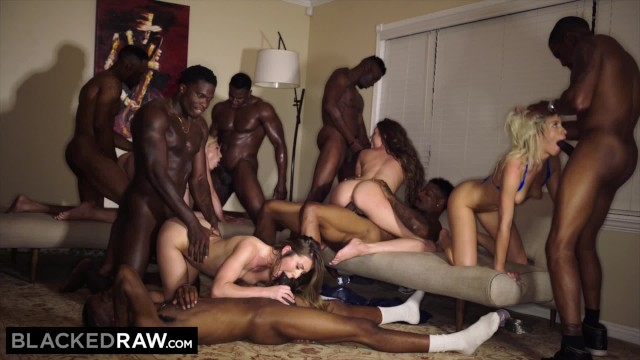 Grab your dick and double - Blackedraw four college girls in insane bbc gangbang