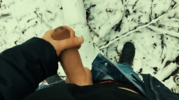 Young uncut big dick cumshot in the snow POV