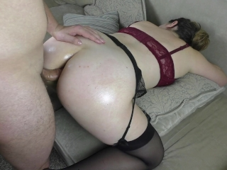 Teen schoolgirl moans in pain from the first anal sex - Cum inside Anal
