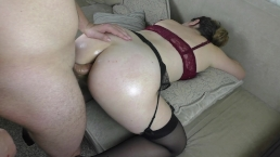 Teen schoolgirl moans in pain from the first anal sex – Cum inside Anal