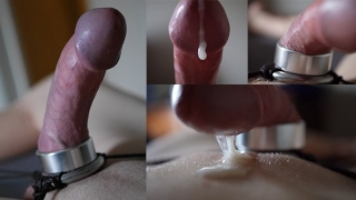 Cock stretching and hands free orgasm