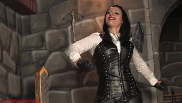 Single tail whipping: Mistress Ezada whipping Her slave with a bullwhip