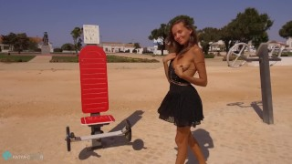 Screen Capture of Video Titled: Clover Nude Public 3
