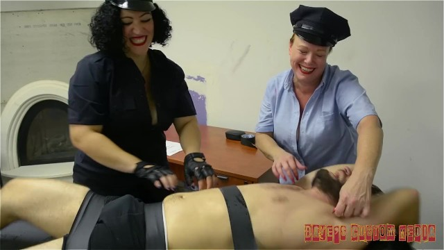 Ladies busty Busty lady officers interrogate bound suspect by tickling him