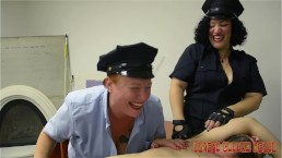Busty Lady Officers Interrogate Bound Suspect By Tickling Him!