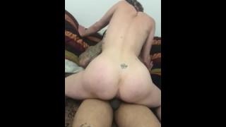 Fat ass rides cock until she cums