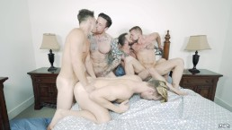 Men.com - Tattooed and pierced hunks have an orgy