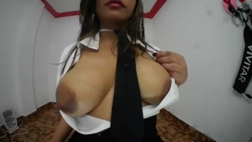 Michelle dressed as a student plays fucking her ass