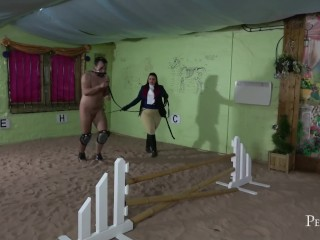 Equestrian Basics – Mistress Eclipse instructs guy how to be a good pony