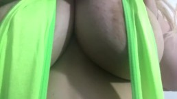 Carlycurvy striptease in green micro bikini thong