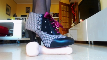 Dildo stomping with my sexy pin up ankle boots, imagine me crushing your...