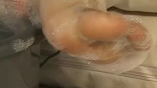 Bubbly feet David restrained and tickled passionately Fingering big