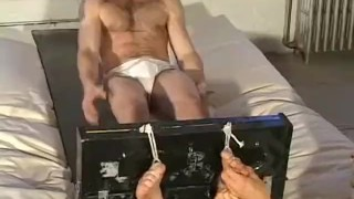 Bubbly feet David restrained and tickled passionately Public tattooed