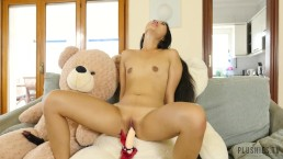 Asian - Japanese girl Katana yoga sex with teddy bears, she loves plushies